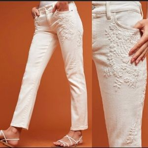 Pilcro Hyphen Mid Rise Embroidered Jeans